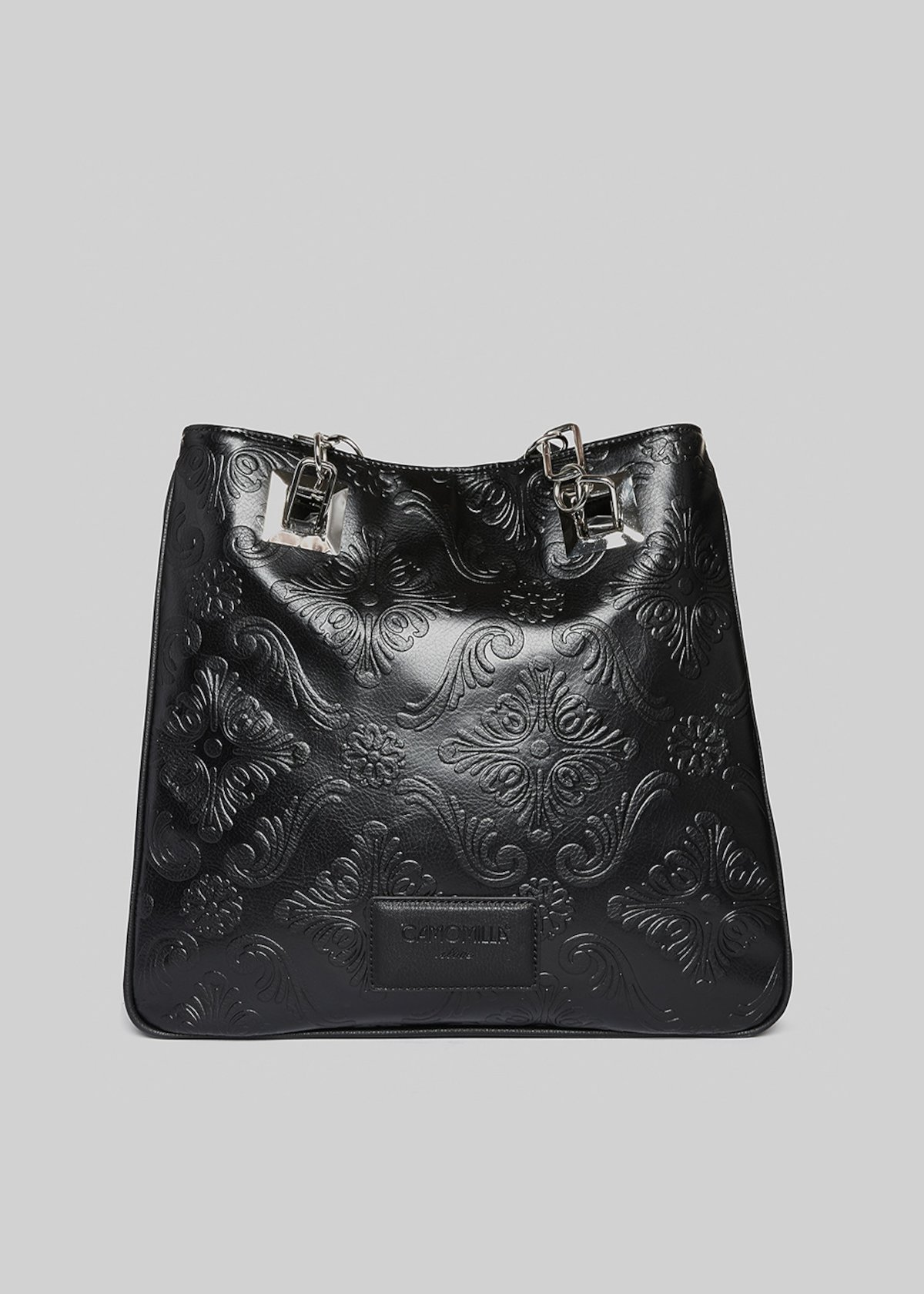 Bede faux leather shopping bag with a floral pattern - Black