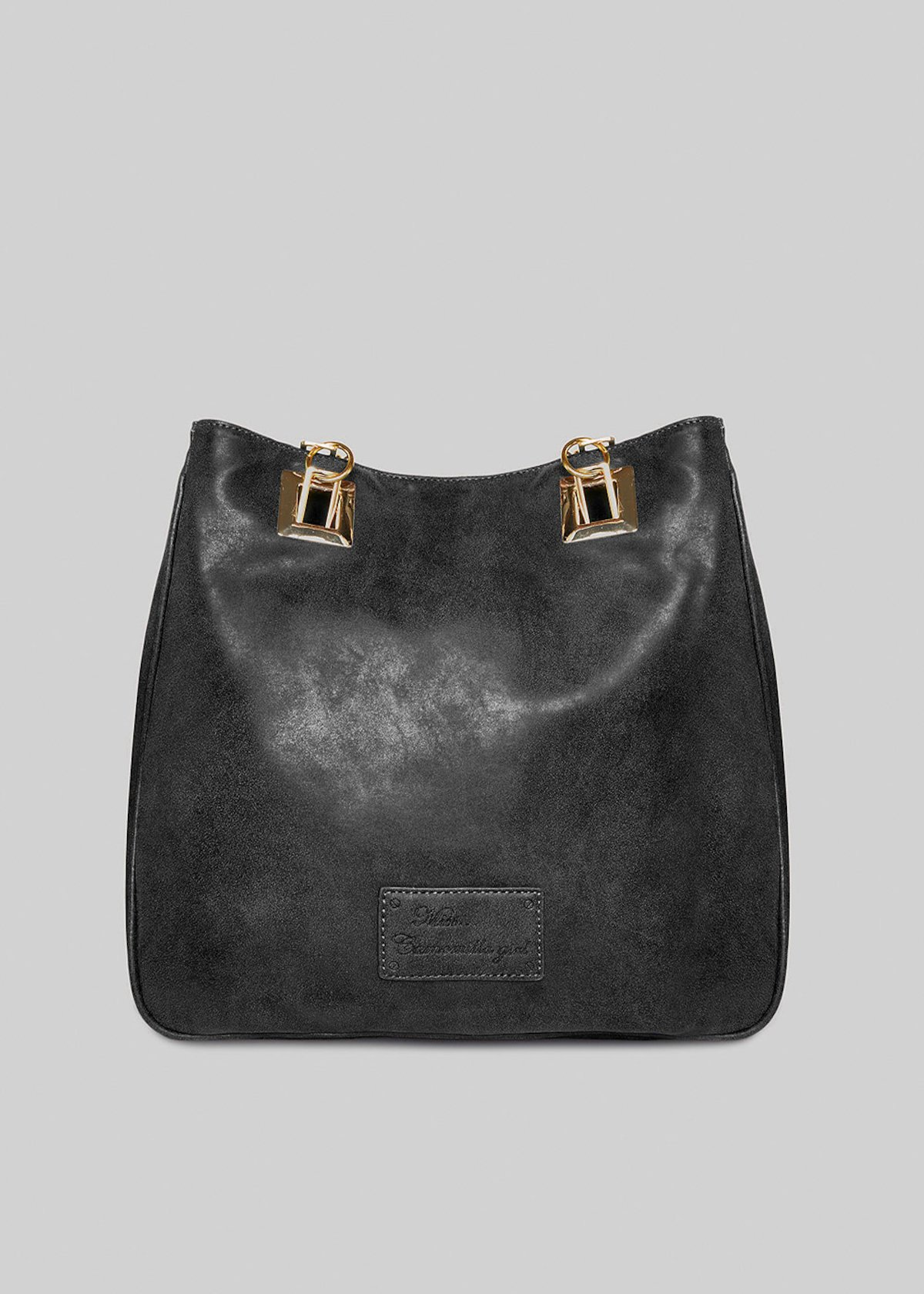 Mmissbruss faux leather shopping bag with gold square eyelets - Black
