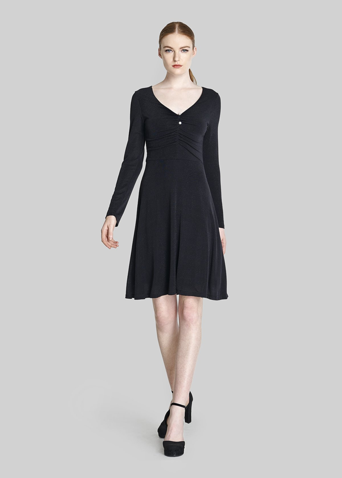 Andry Dress of lurex jersey with pearls on the front - Black