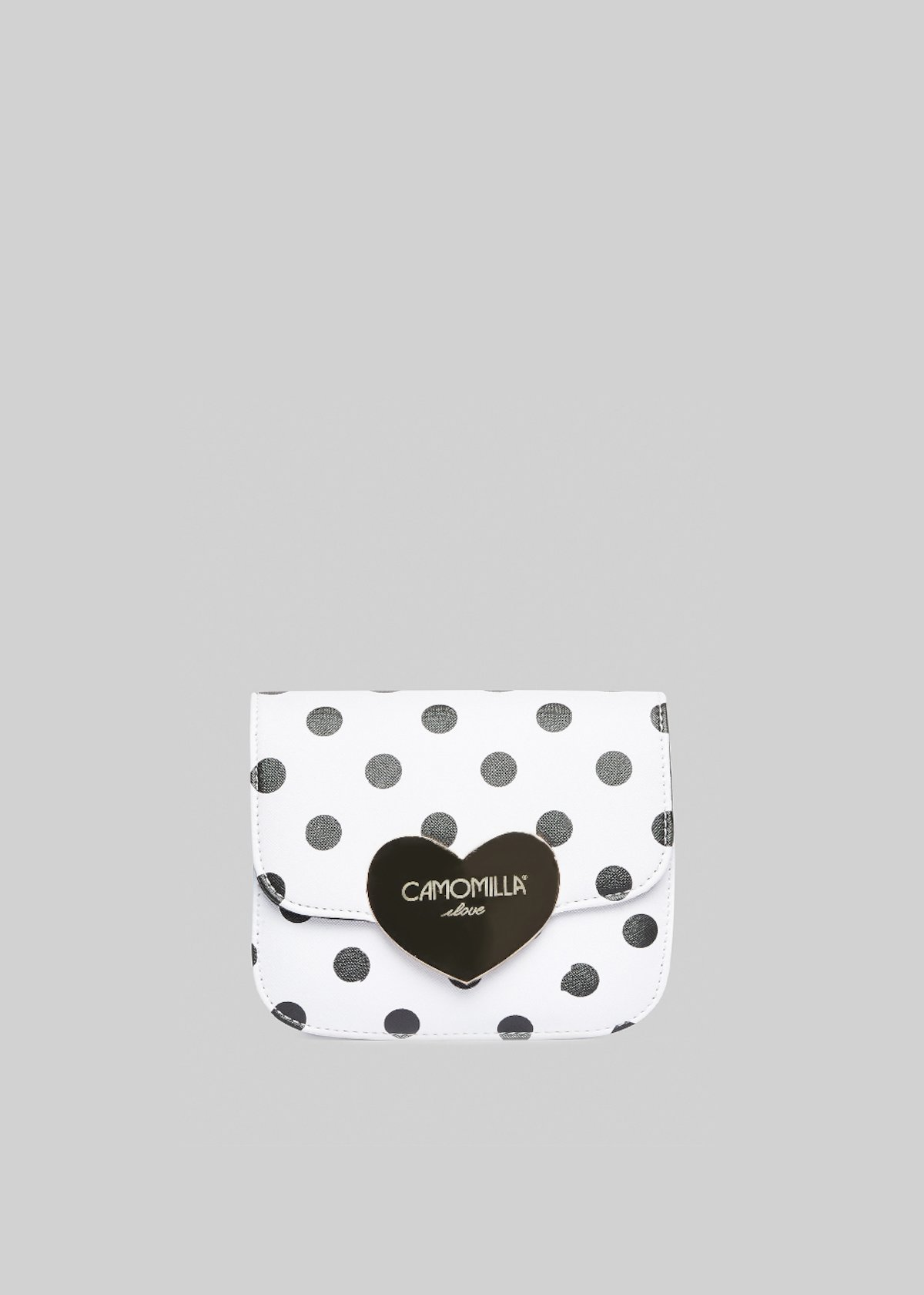 Saffiano faux leather Bimba polka dots printed clutch bag - White / Black Pois