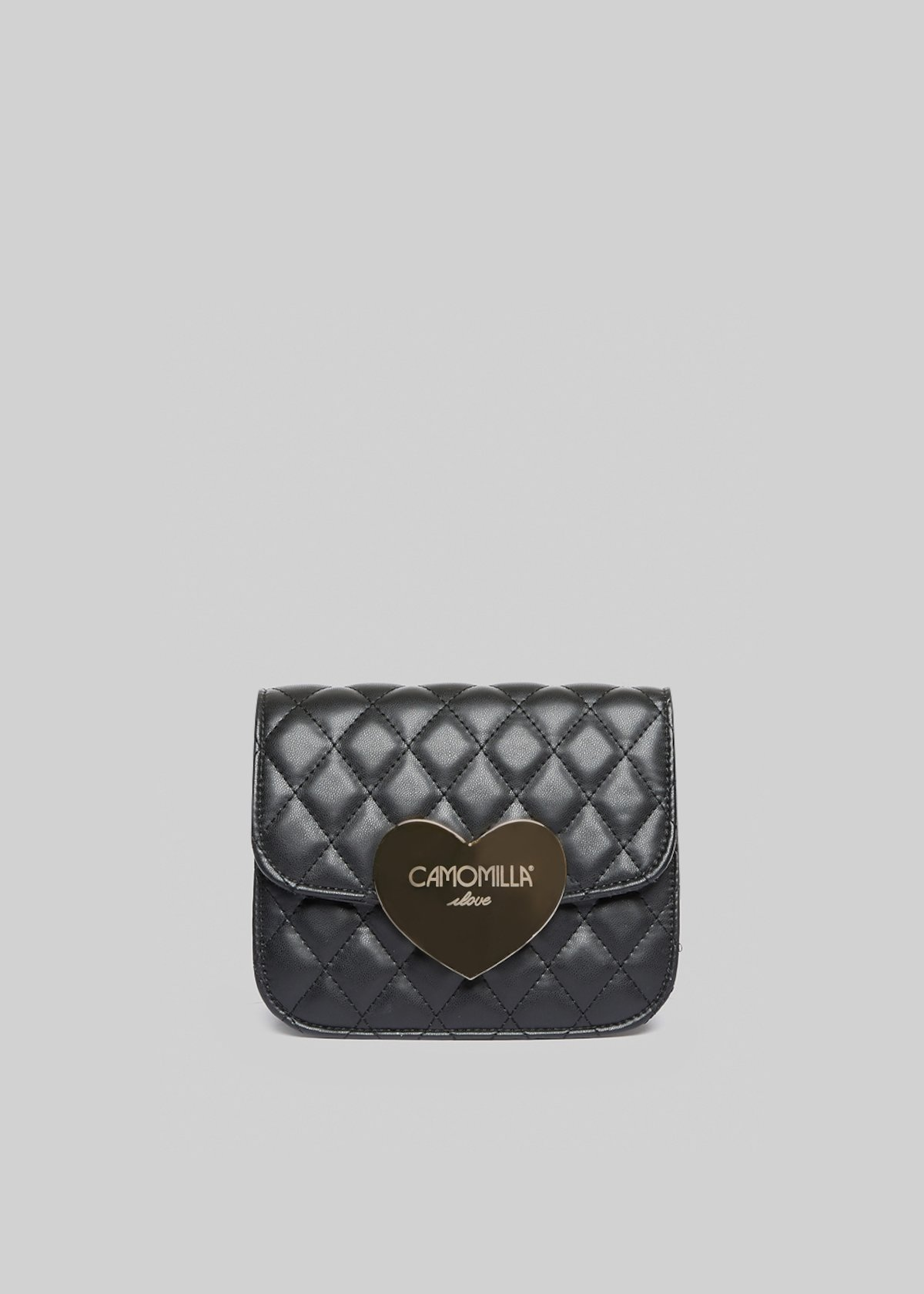 Clutch bag Bilta in ecopelle trapuntata con chiusura cuore metal