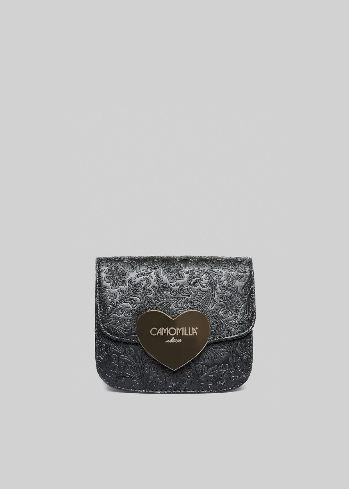 Bizzy clutch bag in lace fabric with metal heart detail