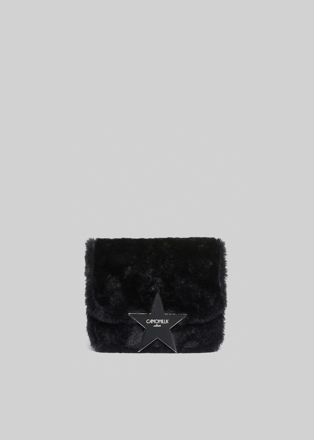 Bellia Clutch bag eco fur effect with star detail - Black