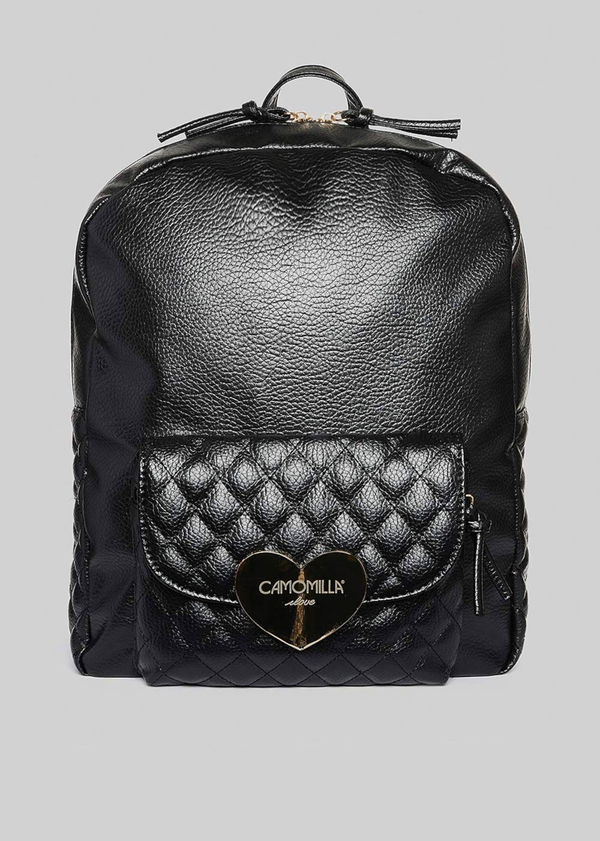 Faux leather Bithan backpack with gold heart detail - Black