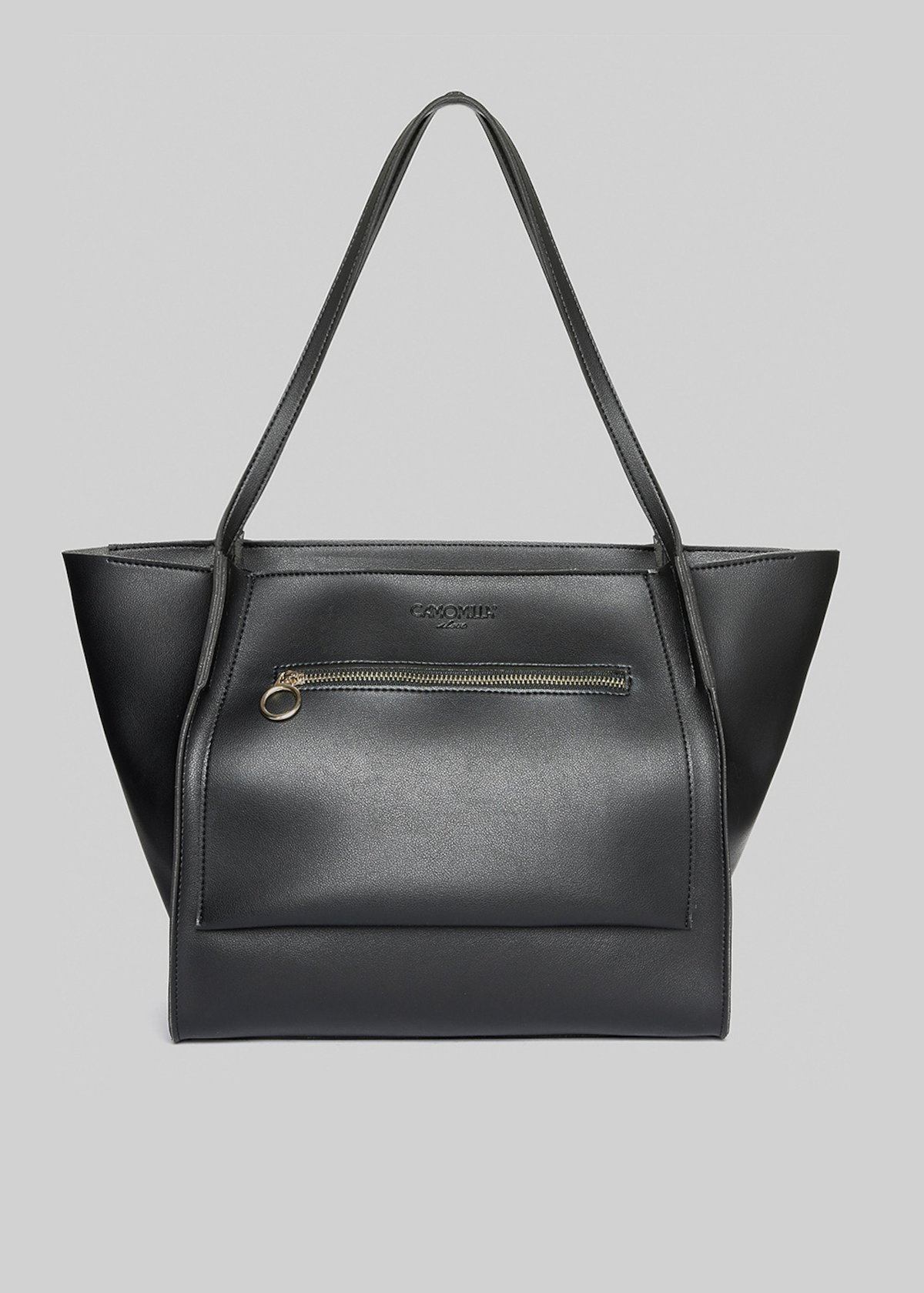 Shopping bag Bisi in ecopelle con pocket zip sul davanti - Black