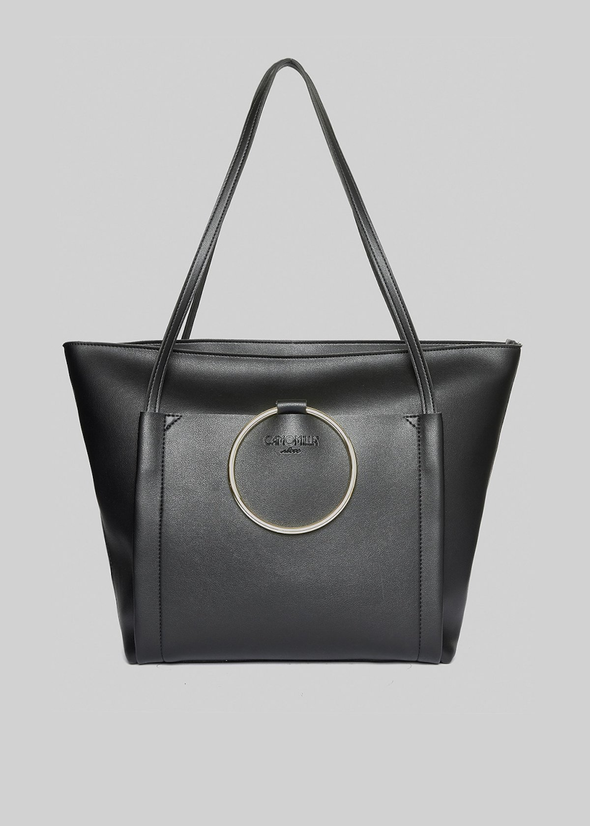 Faux leather Bali shopping bag with metal ring detail - Black