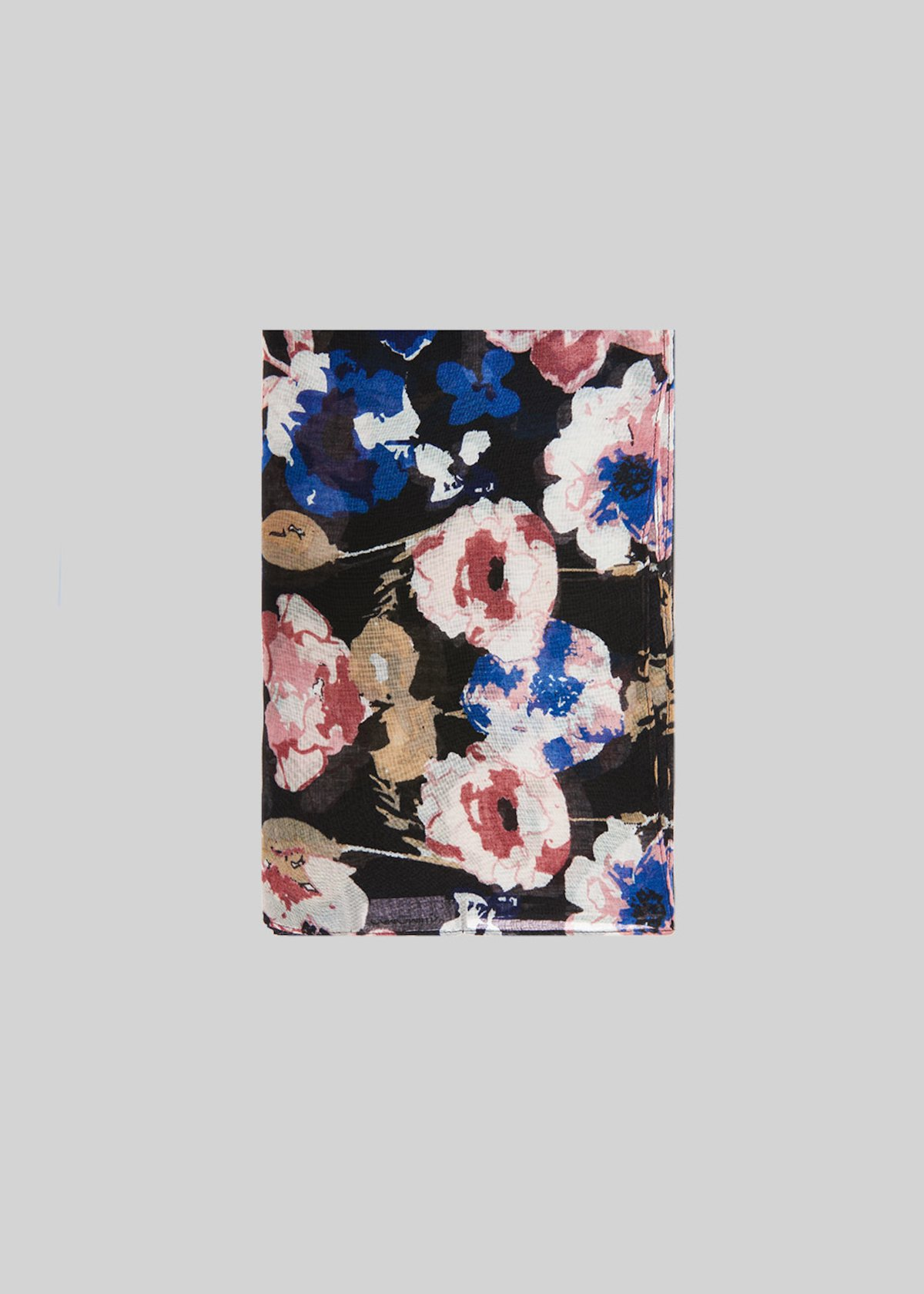Sflora scarf with black background and flower print