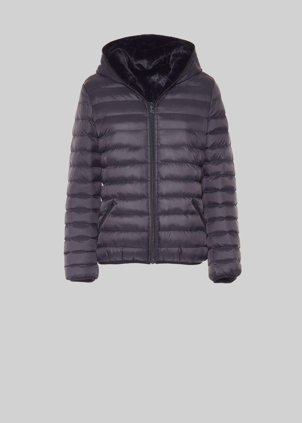 Gary reversible jacket of nylon and ecofur