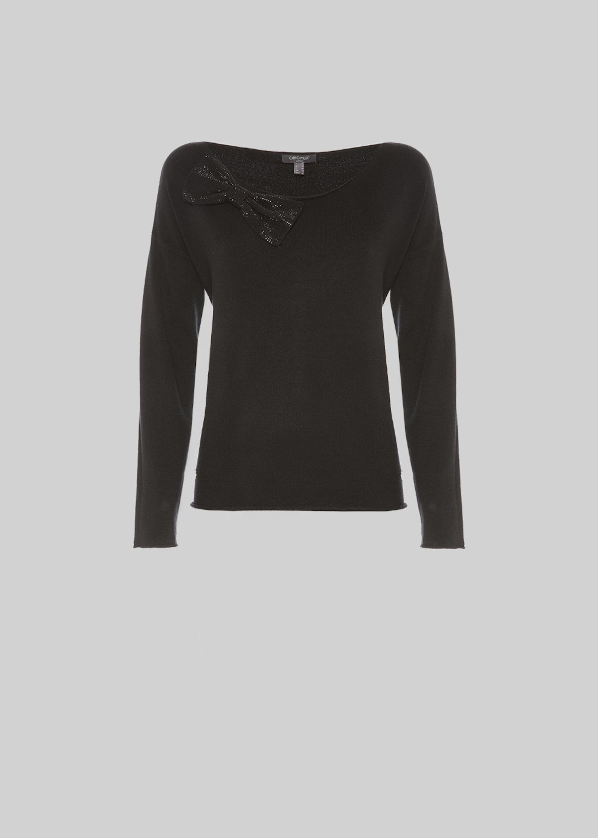 Maily sweater with bow and crystal details - Black - Woman - Category image