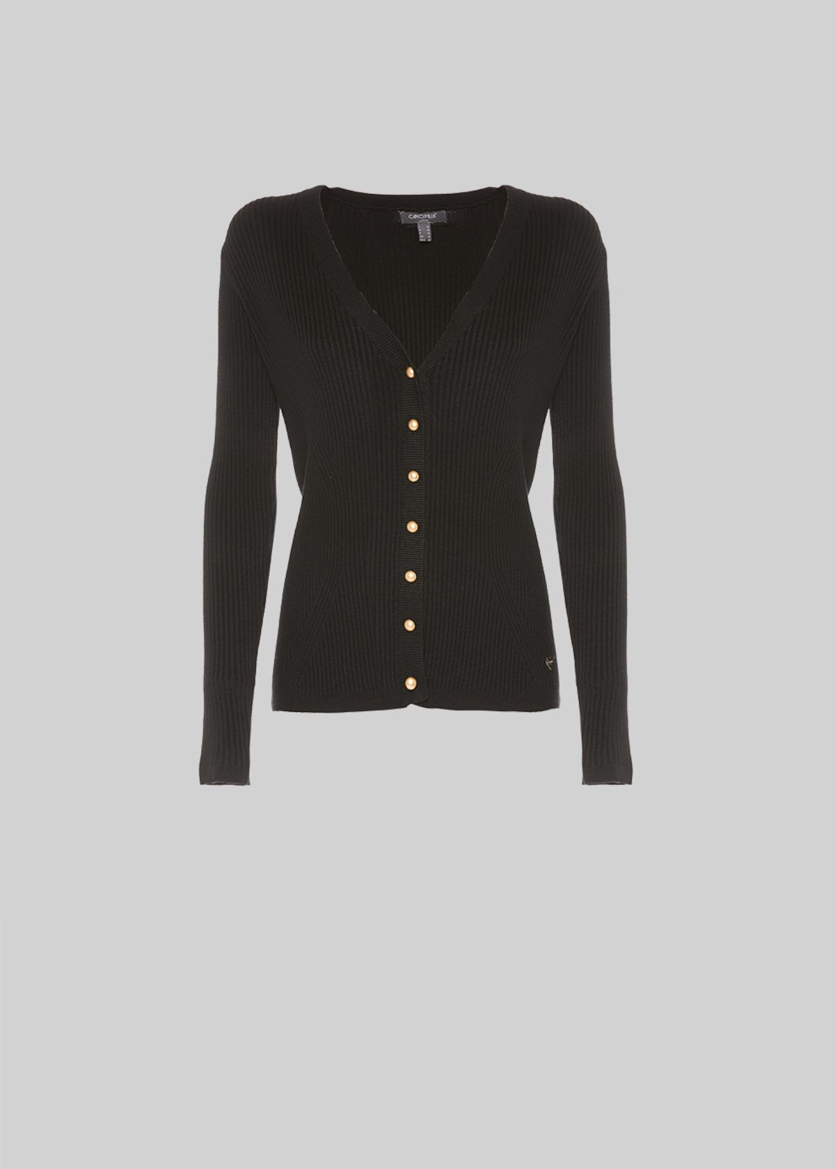 Claud cardigan with metal effect button - Black
