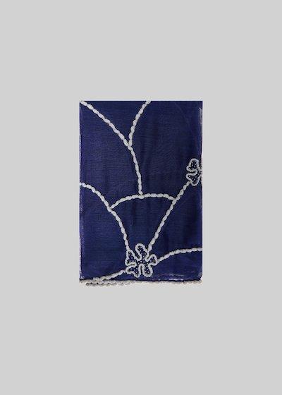 Sciarpa Sarsia in seta e lana con dettaglio flowers