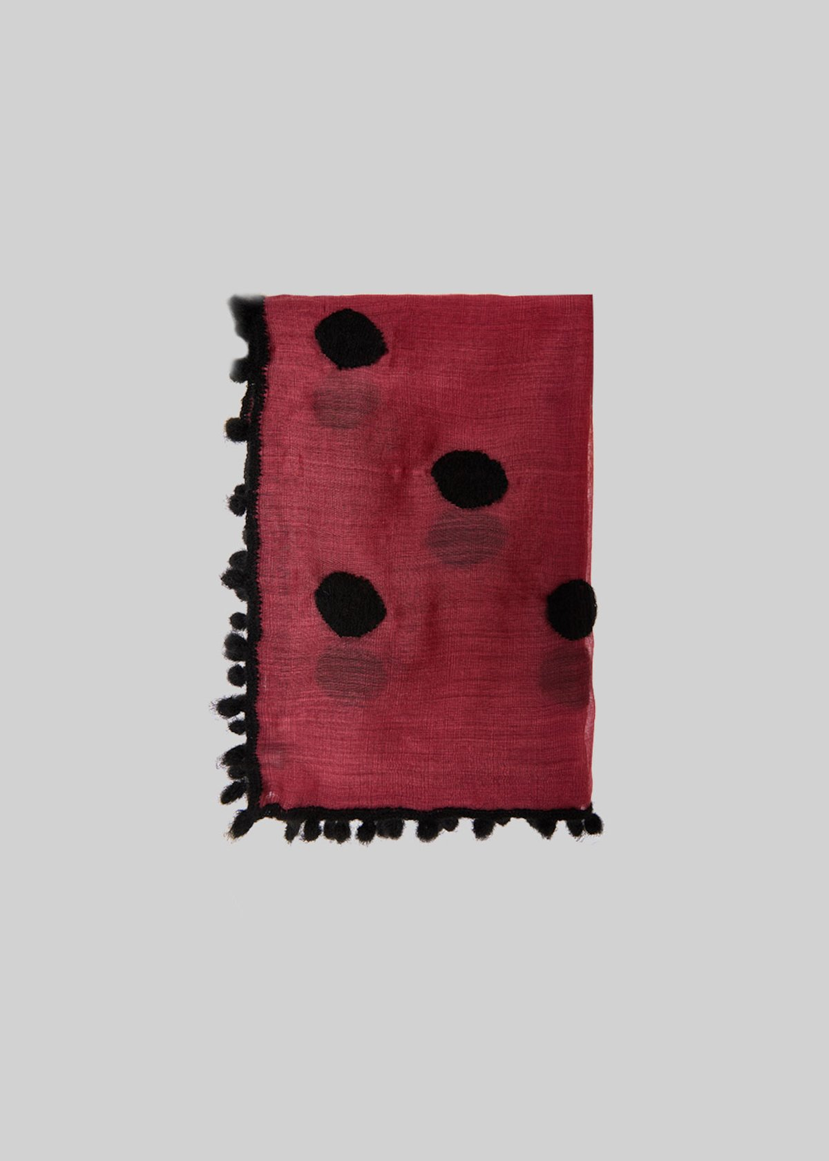 Scarf Slot of silk and wool with pompom detail - Bordeaux / Black