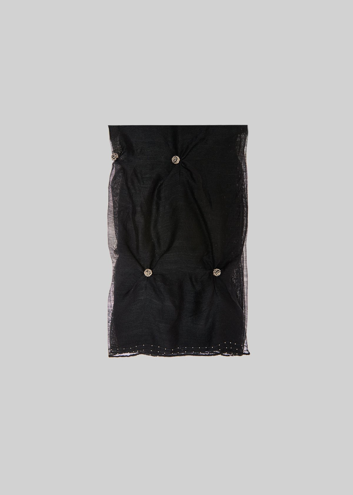 Simono scarf of silk and wool with ball detail - Black