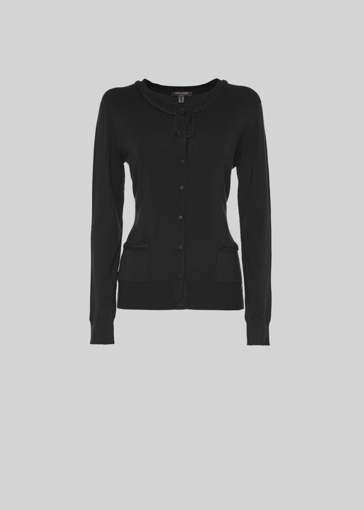 Carl Cardigan with small pockets and weaving detail - Black