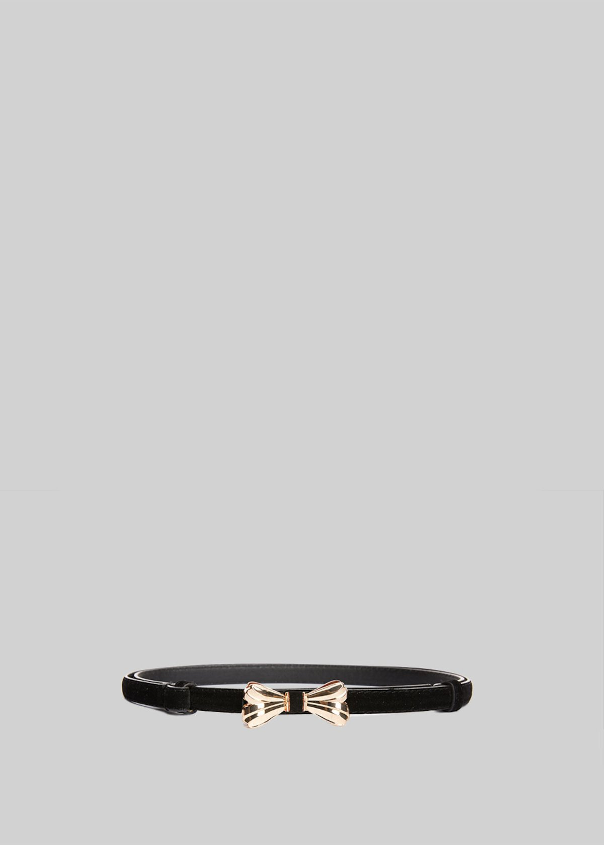 Clary belt of fake suede with light-gold bow - Black