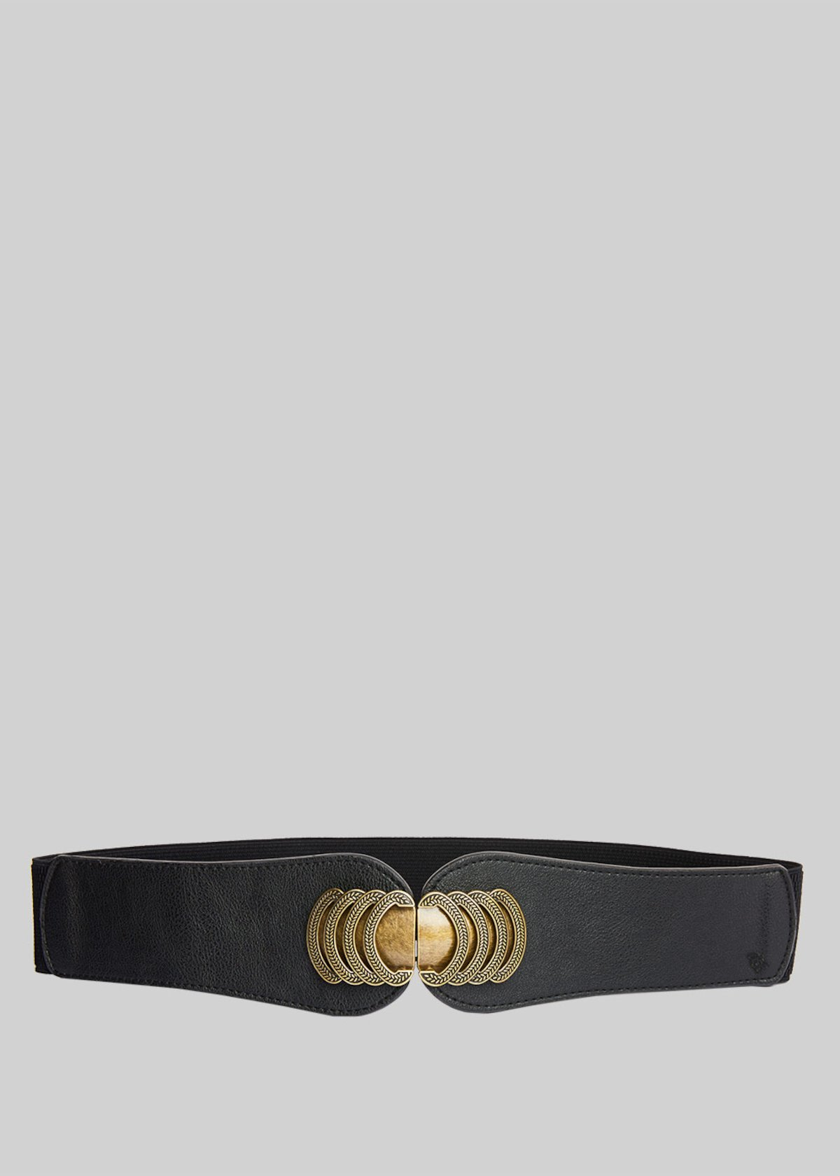 Caepy faux leather belt with antic-gold metal closure - Black