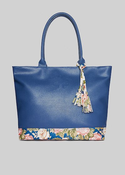 Deer printed Trflowtr1 shopping bag with floral pattern