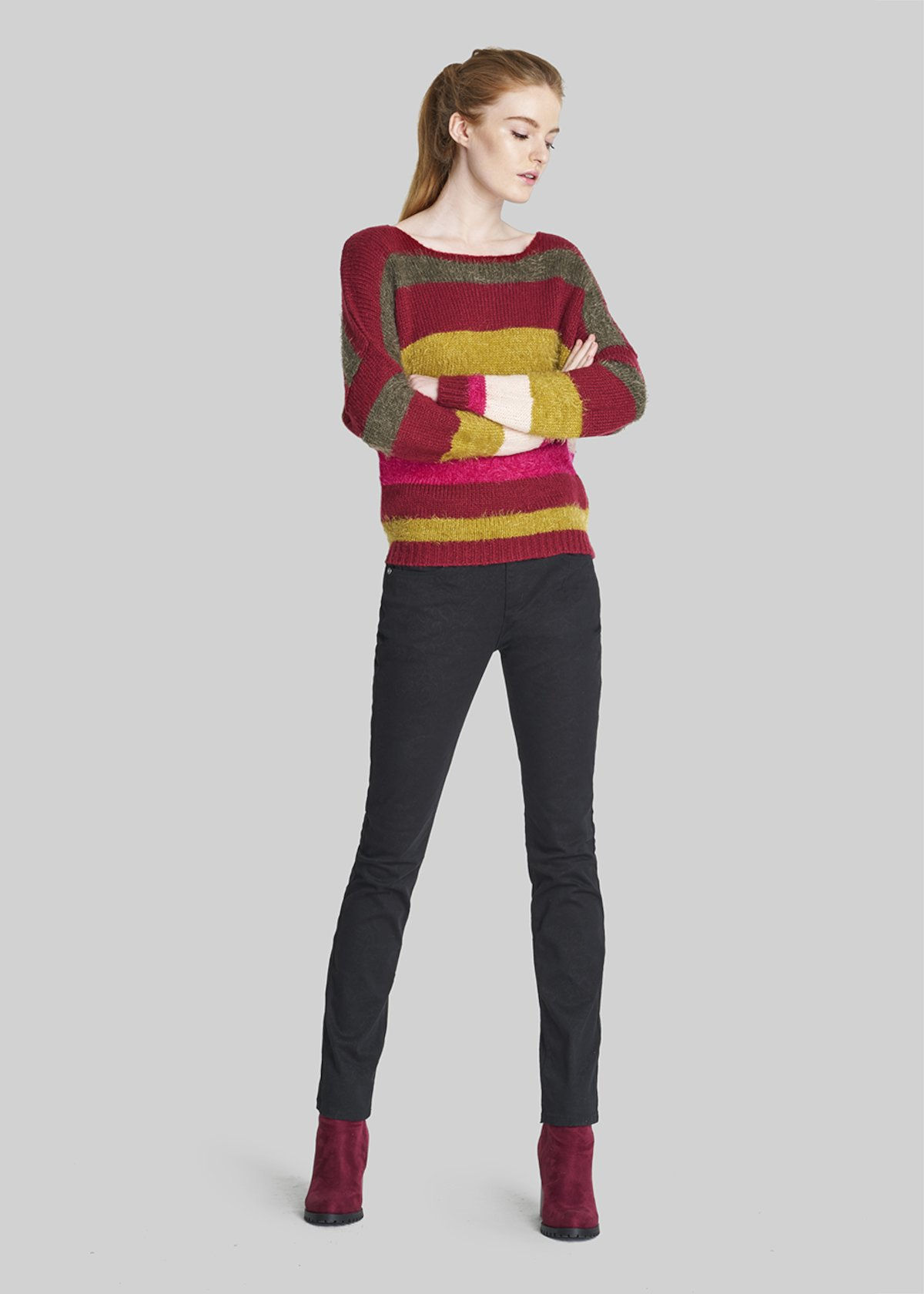 Miss, stripes fantasy round neck sweater - Bordeaux / Bronze  Stripes