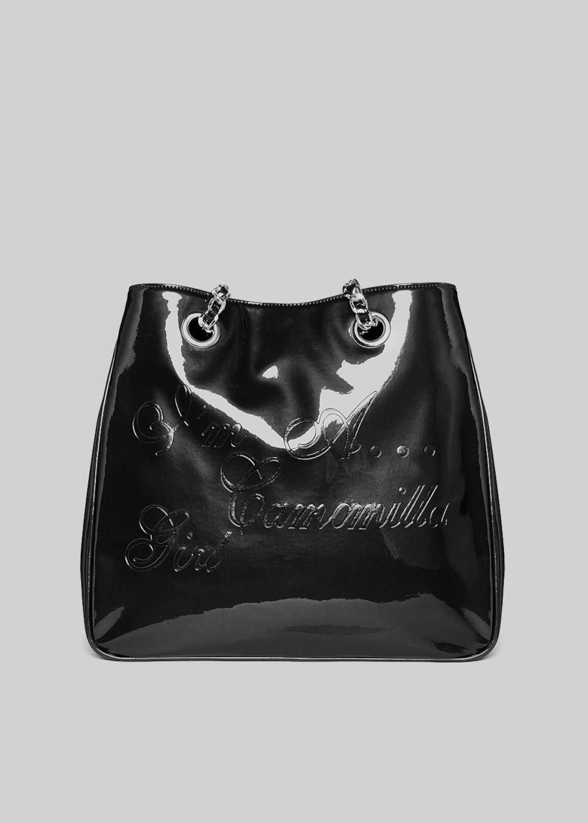 Shopping bag Mcampaten in ecopelle effetto vernice con logo - Black Metal