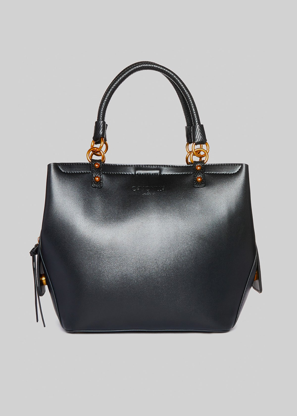 Beatrice faux leather bag with bi-material double handle - Black