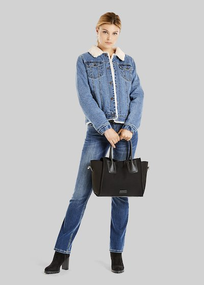 Glady denim jacket with ecofur inner