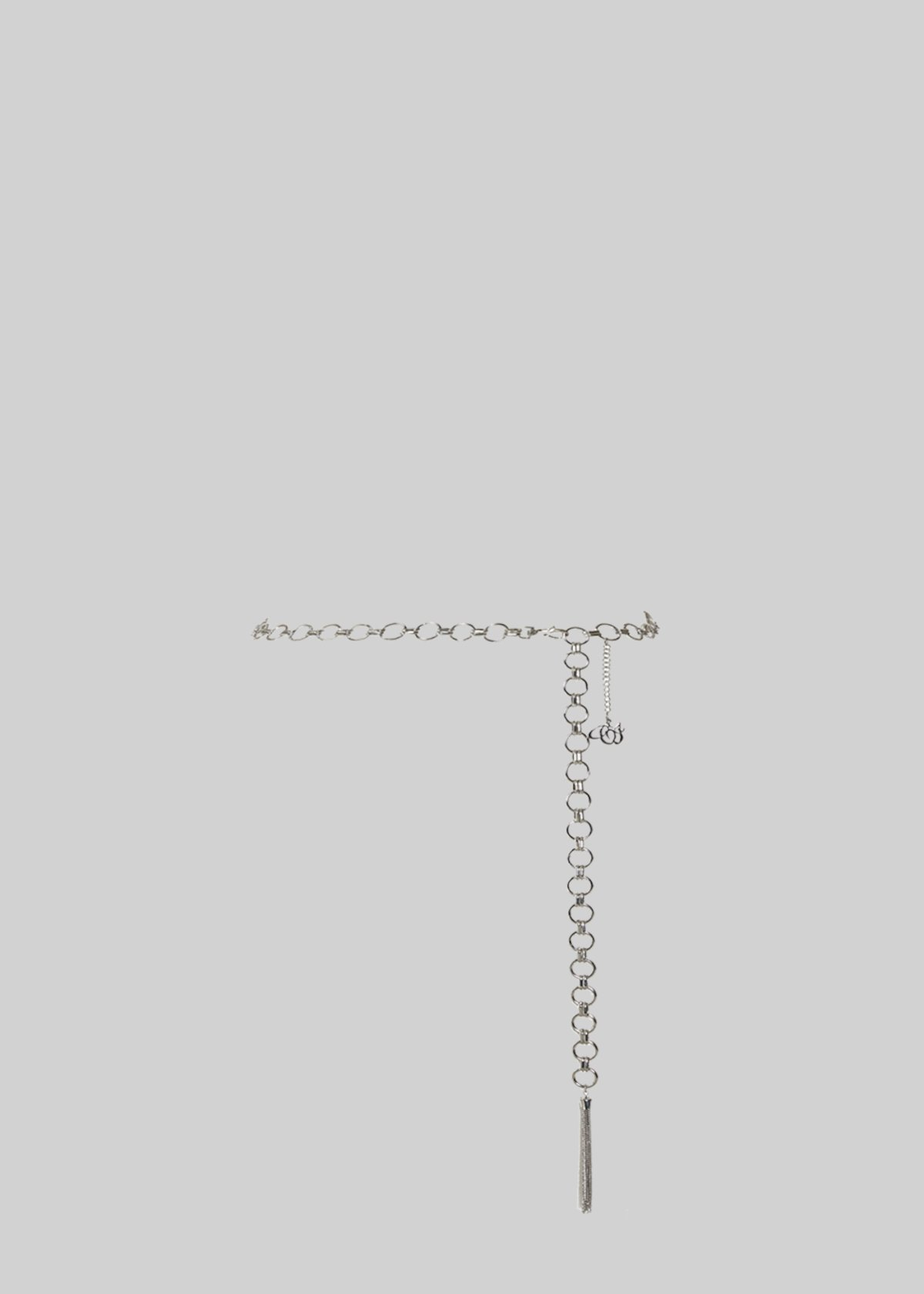 Cross belt with chain rings and pendant - Nickel
