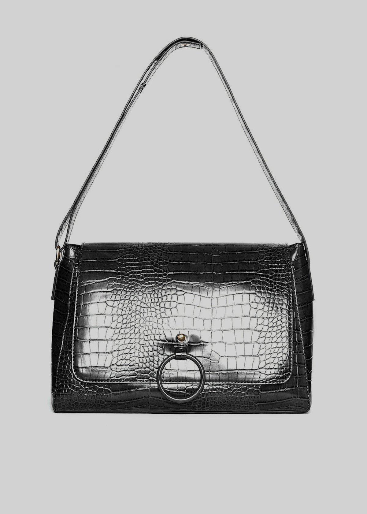 Boralia C faux leather shoulder bag with coconut effect