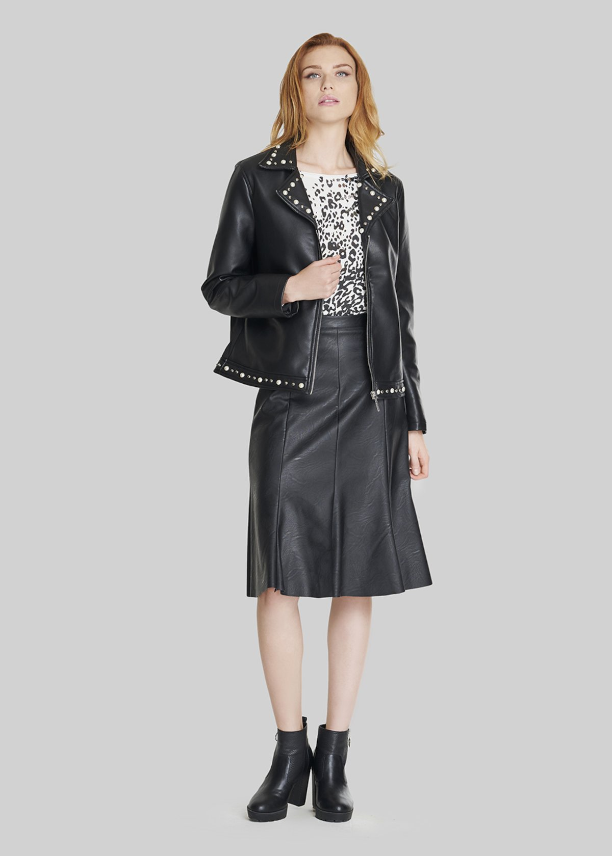 Faux-leather Geky jacket with pearls detail