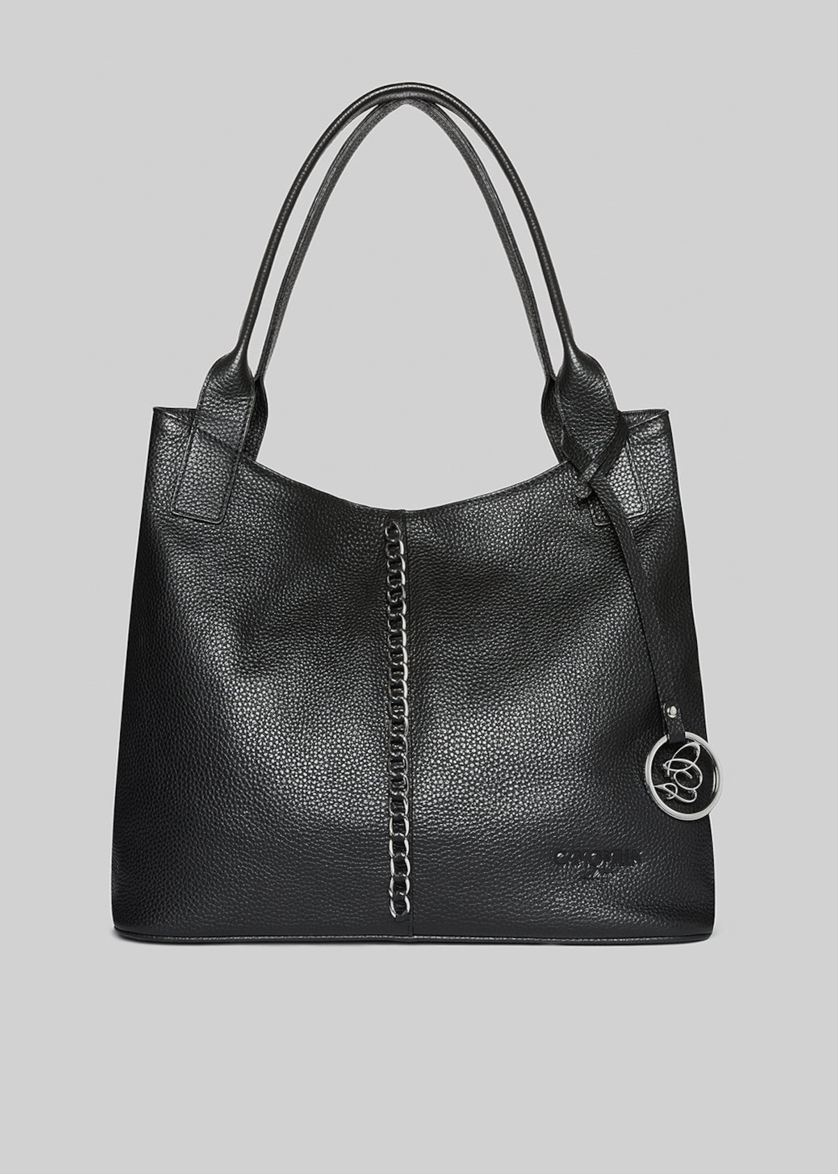 Bertilla bag made of genuine leather with leaning metal logo - Black