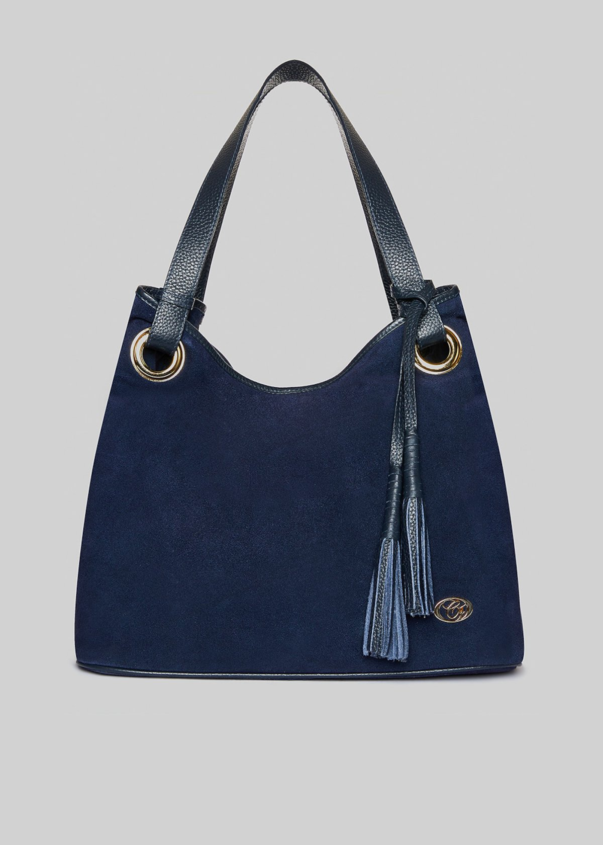 Blaudia leather bag real suede and tassels detail - Dark Blue