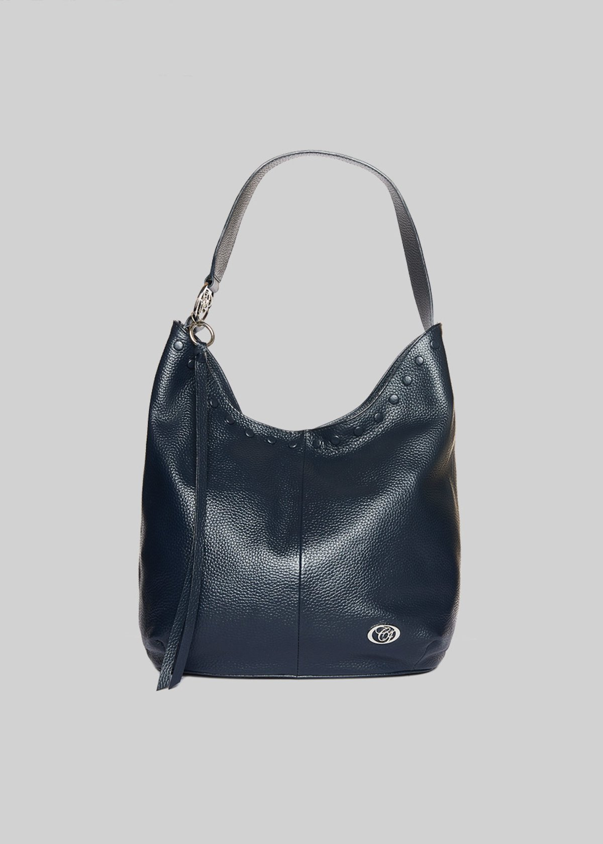 Leather Brisa bag with studs detail - Dark Blue