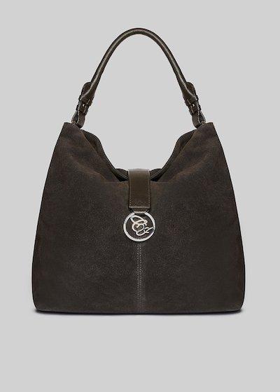 Brigid bag Real suede with metal logo detail
