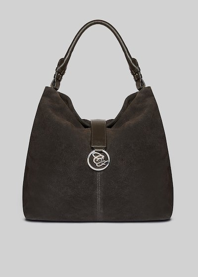 Brigid bag Real suede with metal logo detail