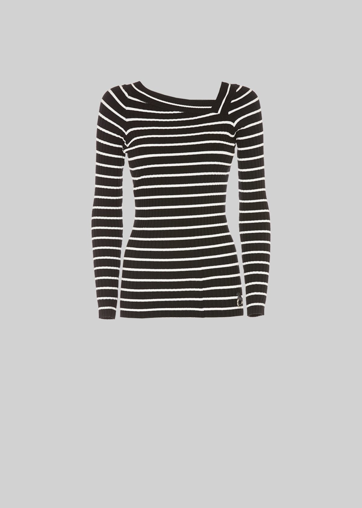 Monkey stripe fantasy sweater with asymmetrical collar - Black / White Stripes - Woman - Category image