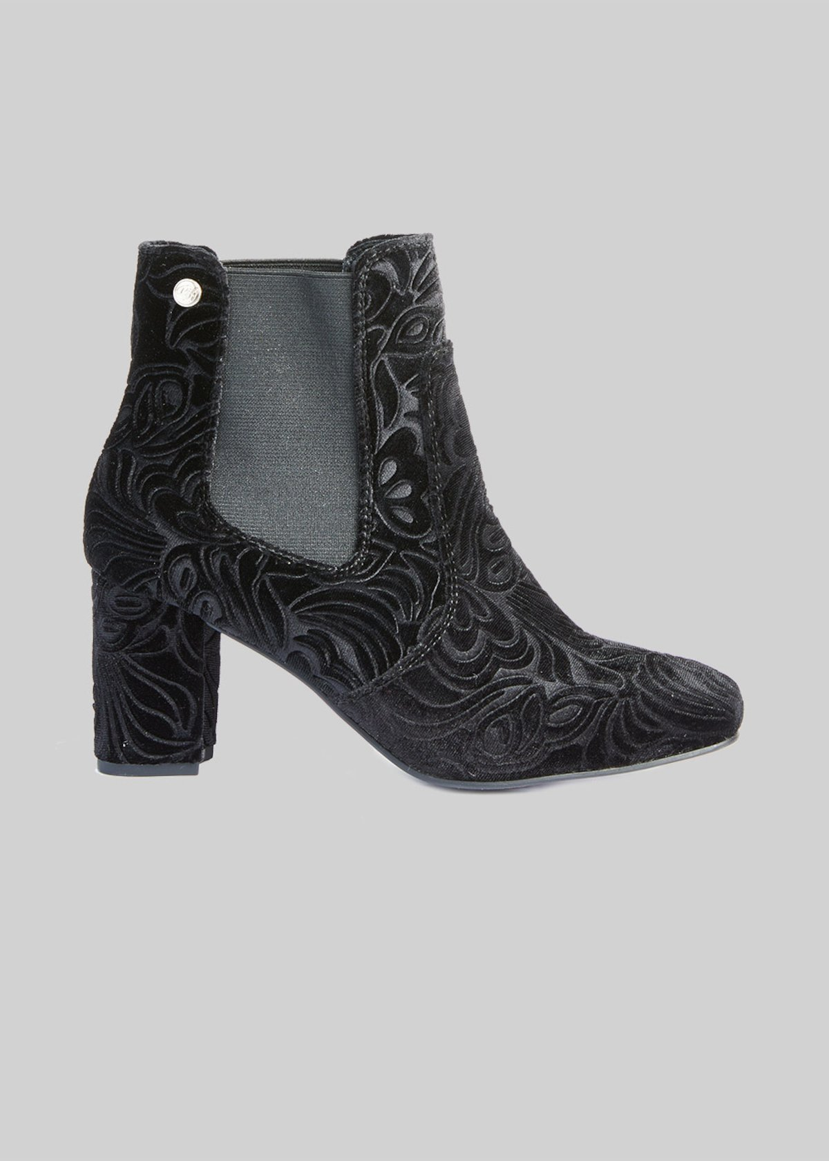 Sarah velvet effect ankle boots with elastic bands