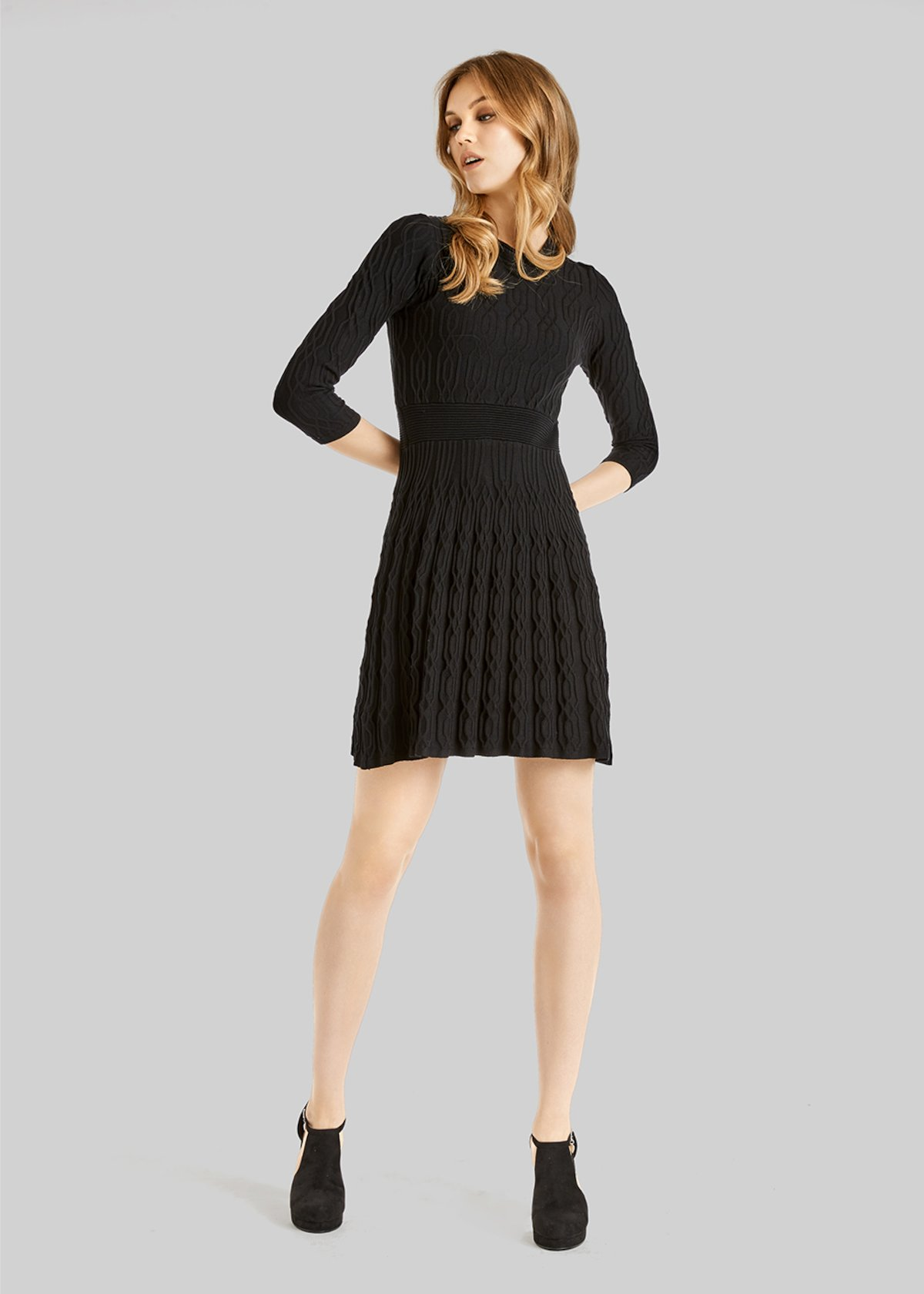 Astrid knit dress with full skirt - Black - Woman - Category image