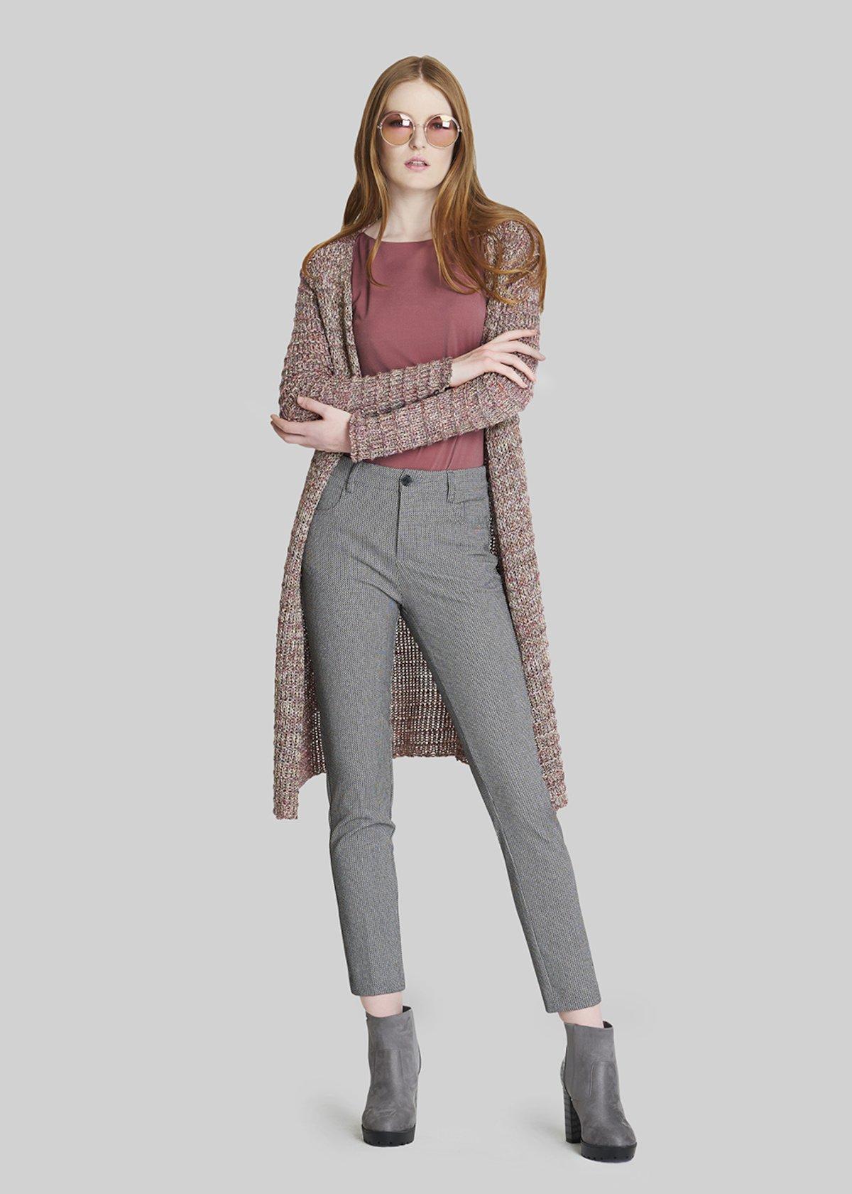 Chrissy long sleeve long Cardigan - Ciclamino / Violet Lurex