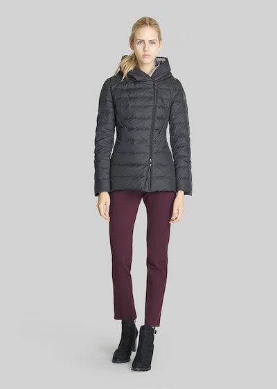 Parker bicolour down coat with hood and asymmetric zip