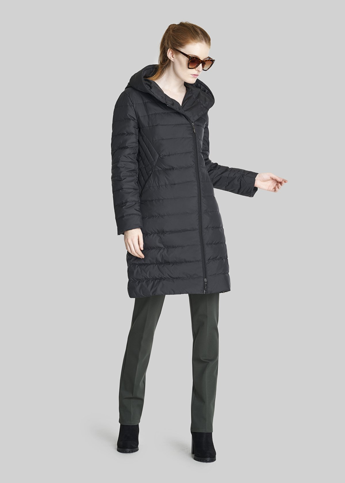 Parkway long down coat with hood and asymmetric zip