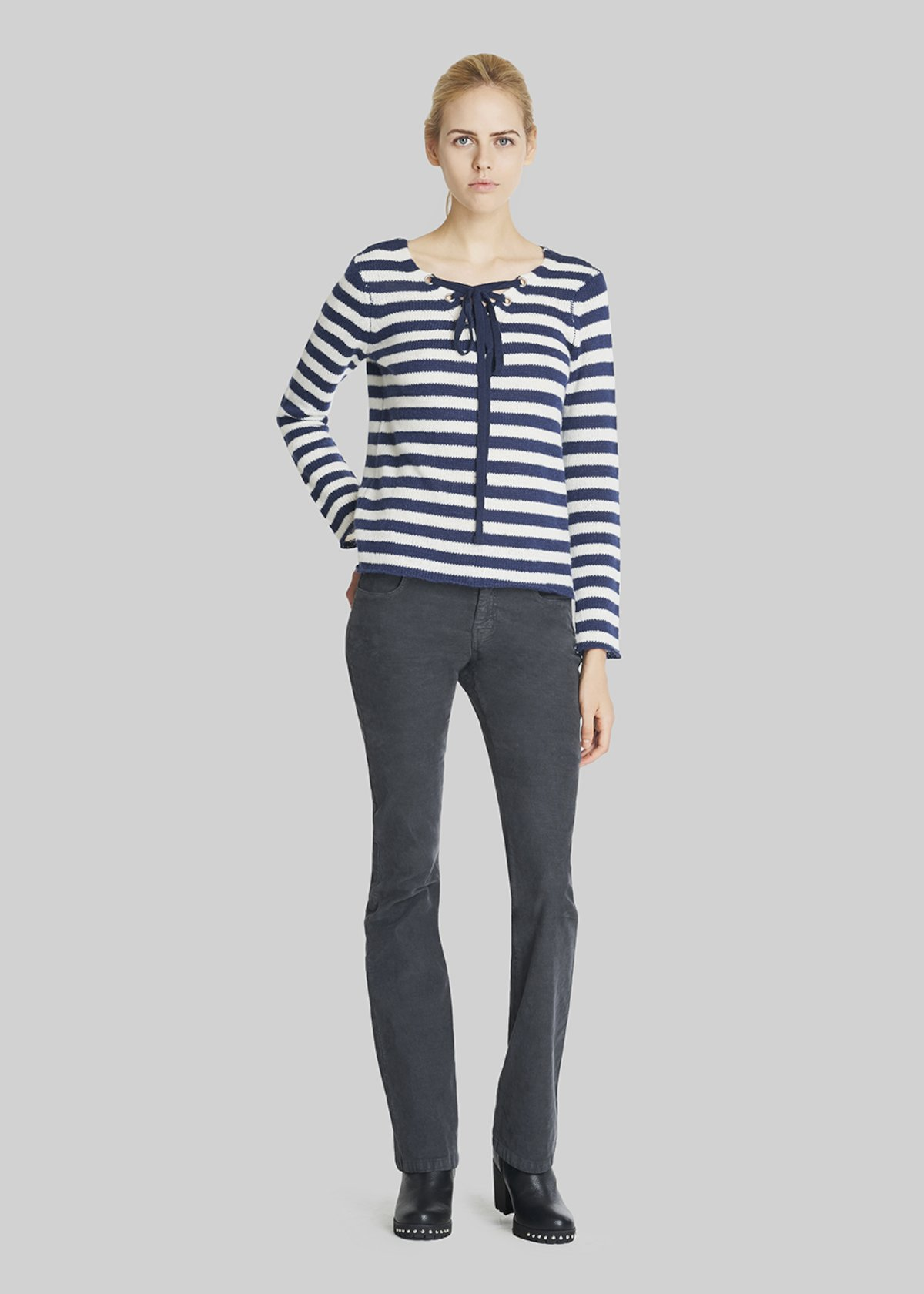 Morbid sweater with criss cross at the neck and bicolour stripes - Medium Blue / White Stripes - Woman - Category image