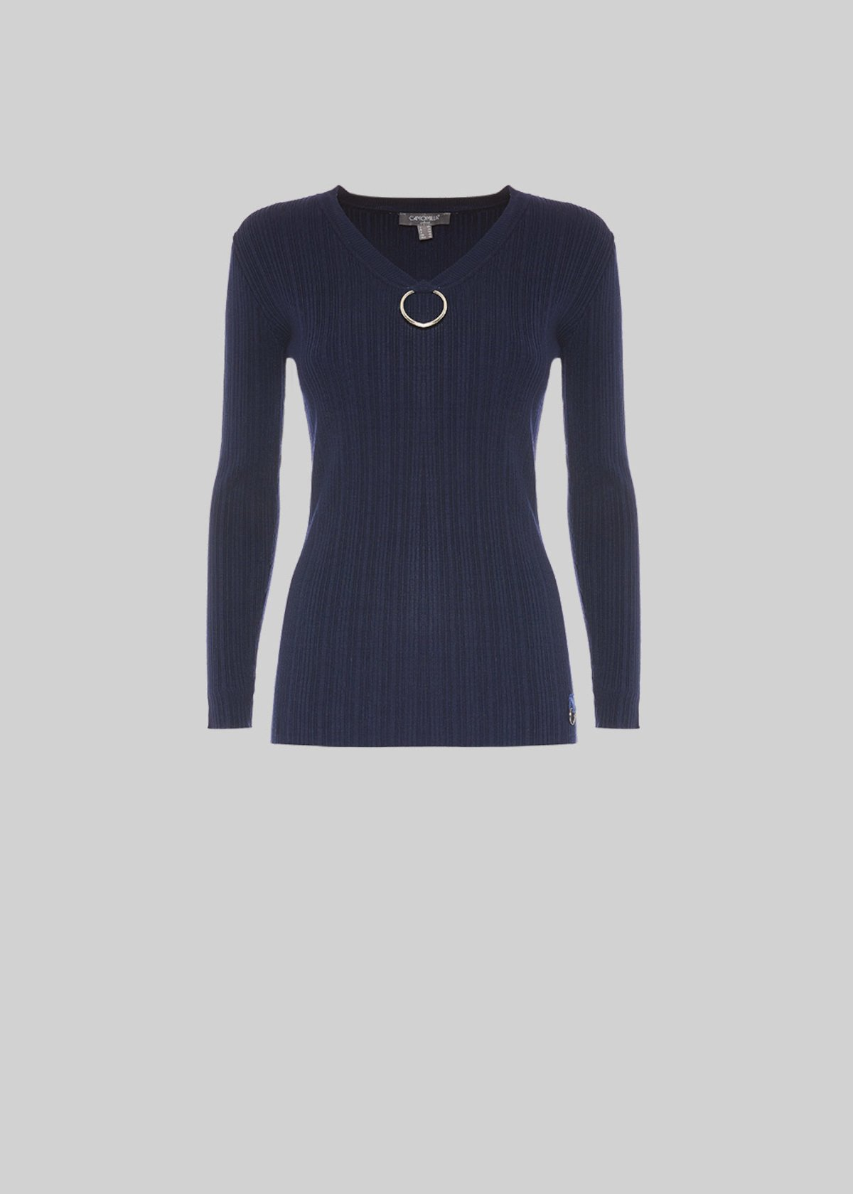 Mission ribbed knit sweater with ring detail - Medium Blue - Woman - Category image