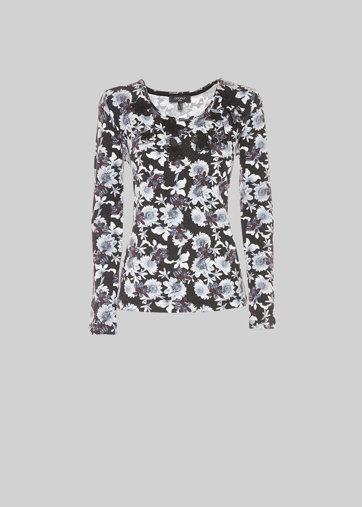 Milky sweater all over print and micro rhinestones