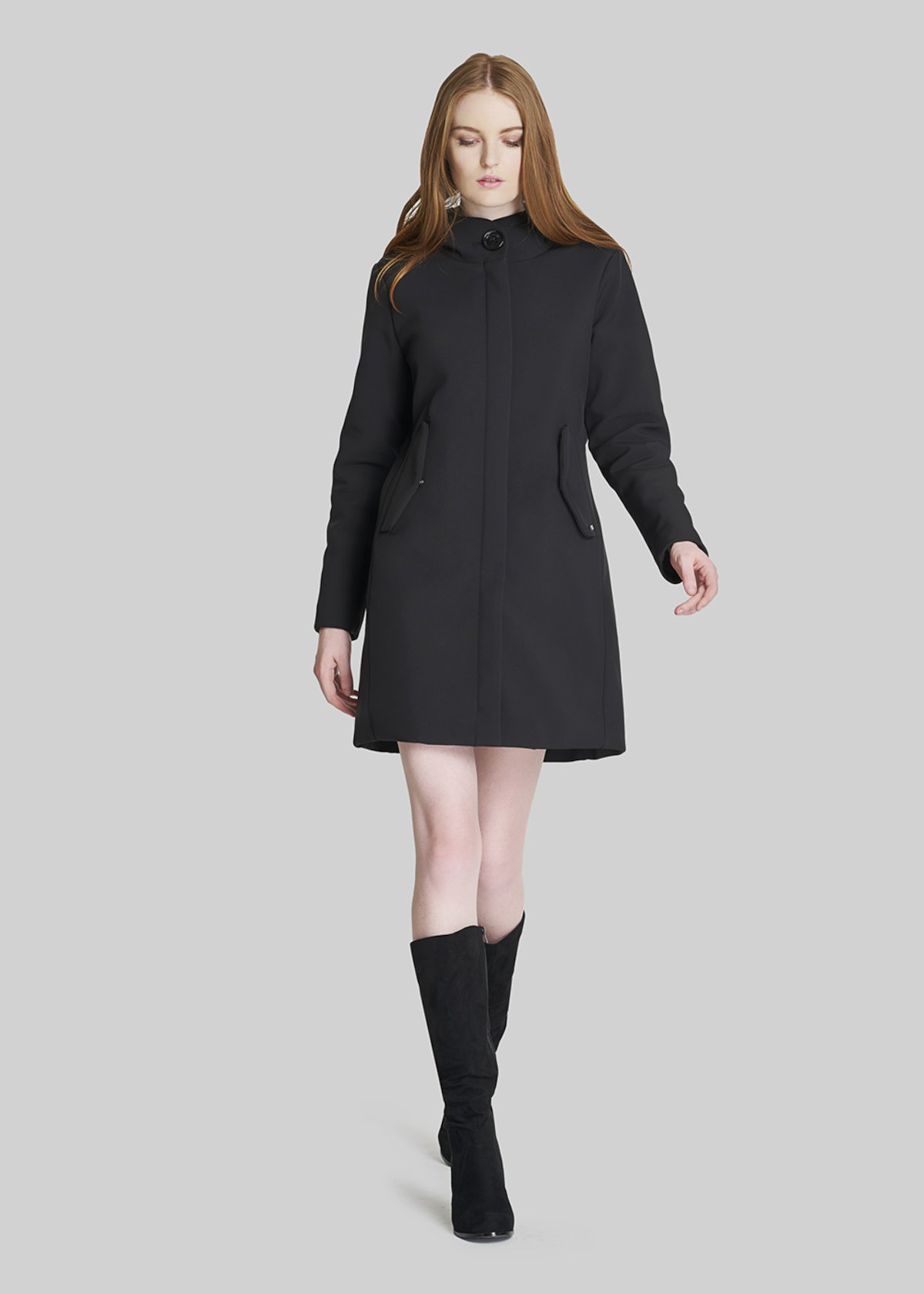 Cristofer coat with hood and central zip - Black