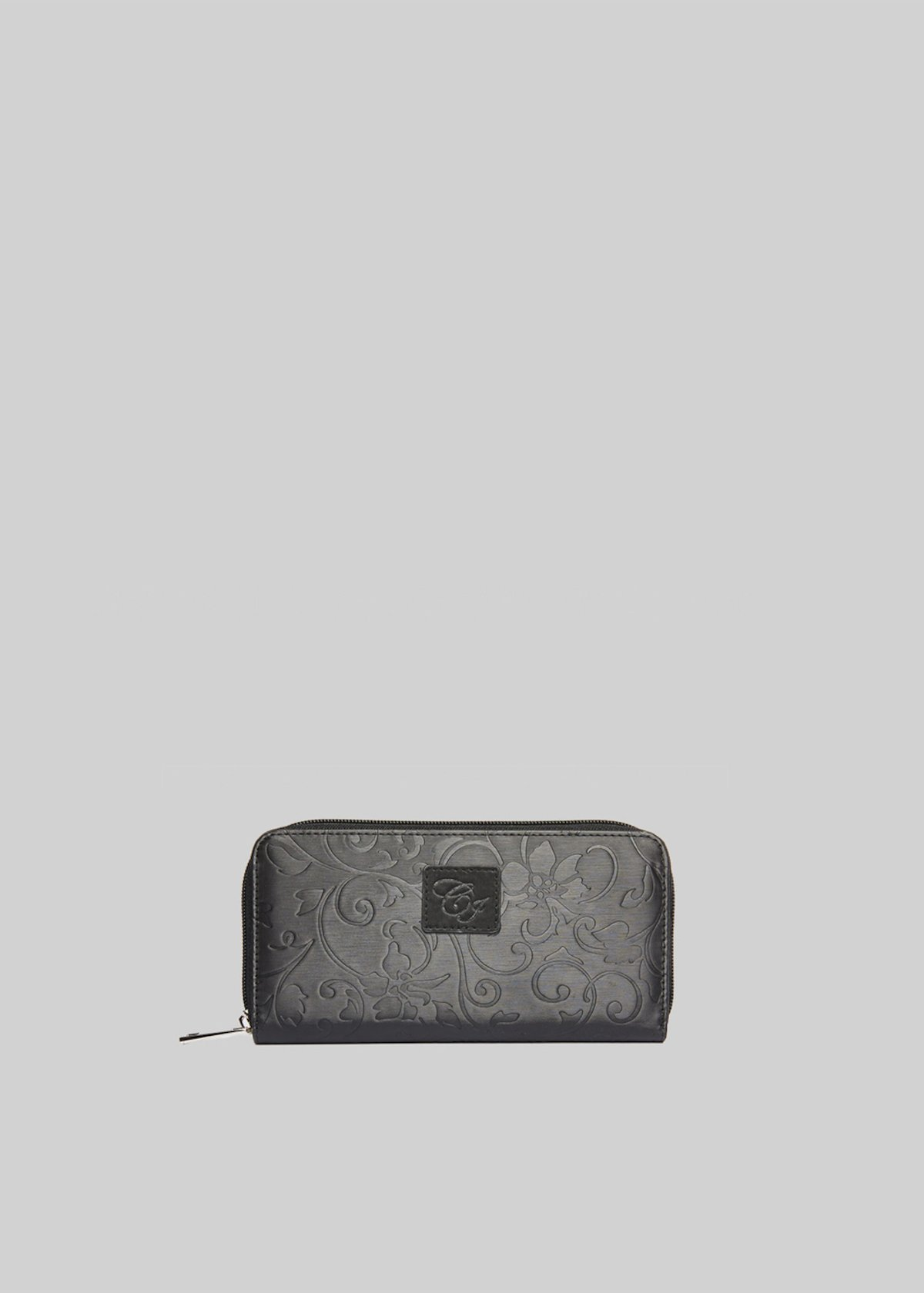 Pagonia wallet of eco-leather with flower detail - Black
