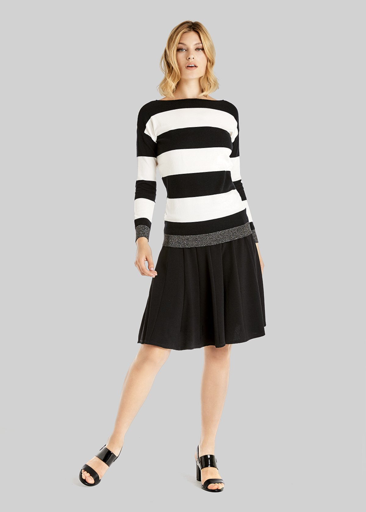Maryjane Boat neck long sleeved shirt - White / Black Stripes