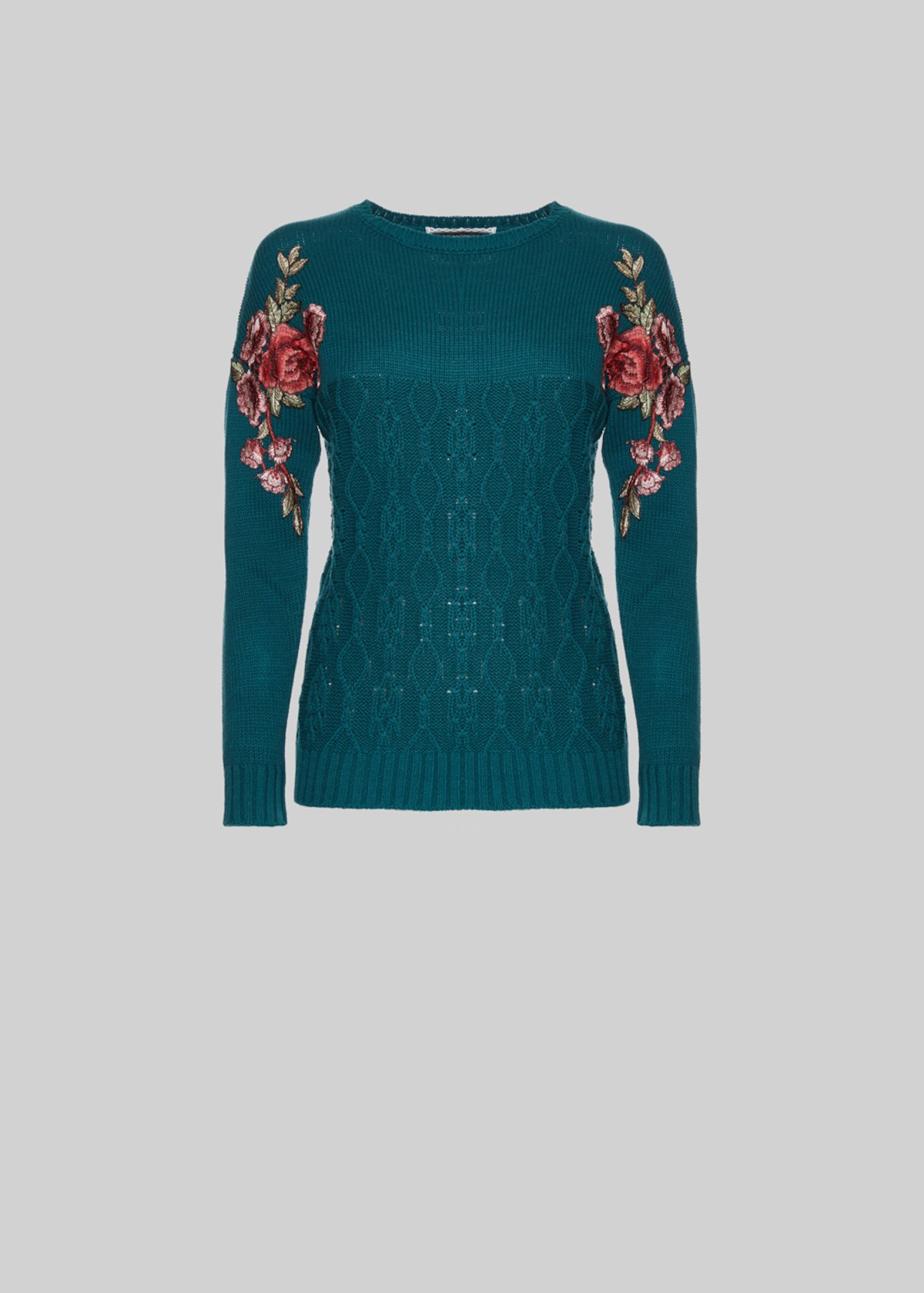 Marbella sweater with flower patch detail - Duck