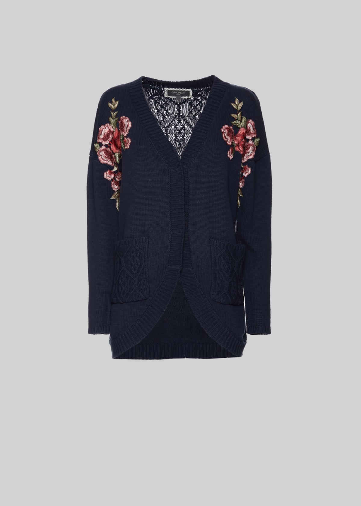Conrado Cardigan with pockets and flowers patch detail - Dark Blue - Woman - Category image