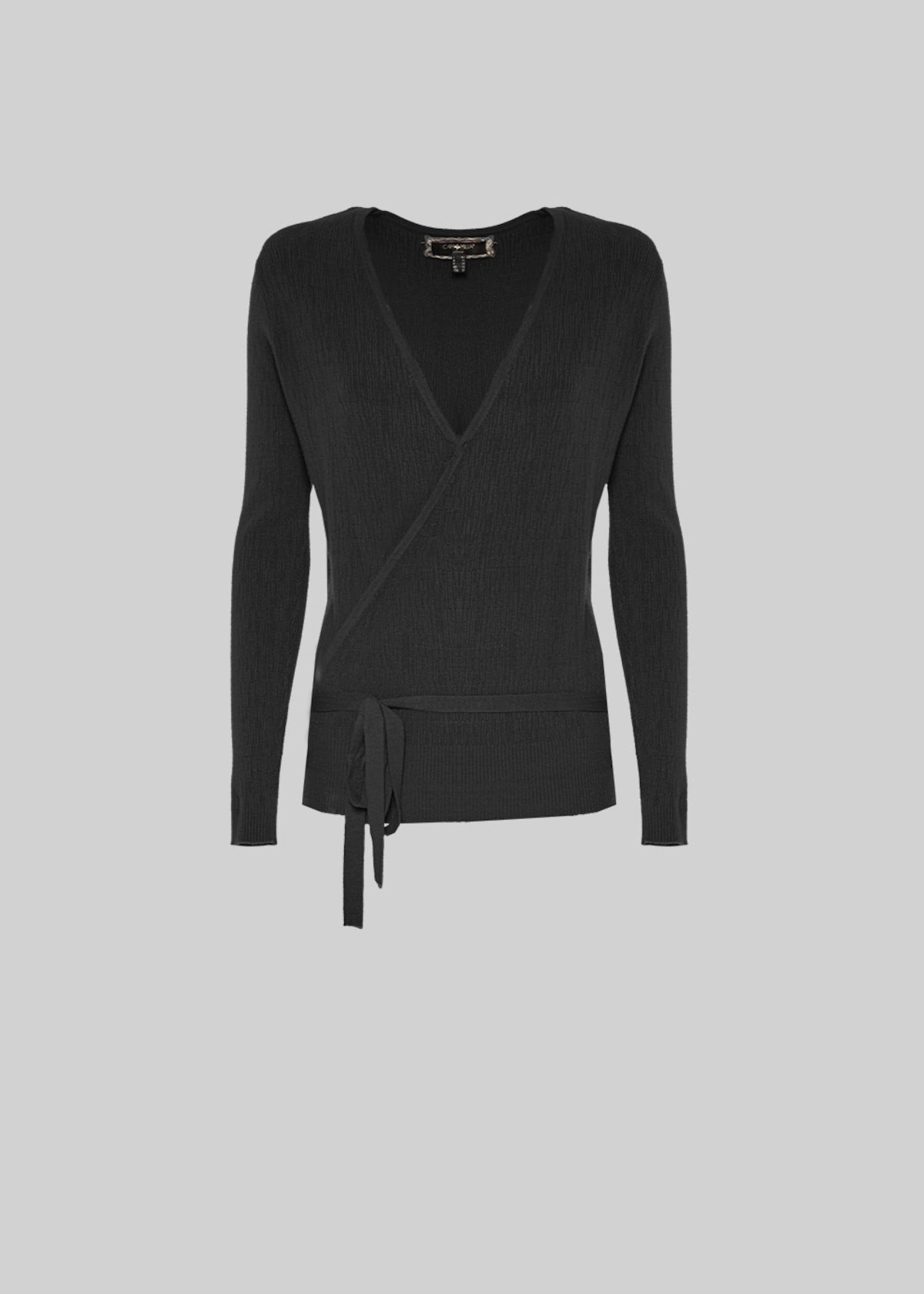 Crayon cardigan with crossover closure - Black - Woman - Category image