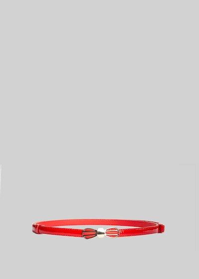 Cintura Craid in ecopelle verniciata con chiusura fiocco in tono