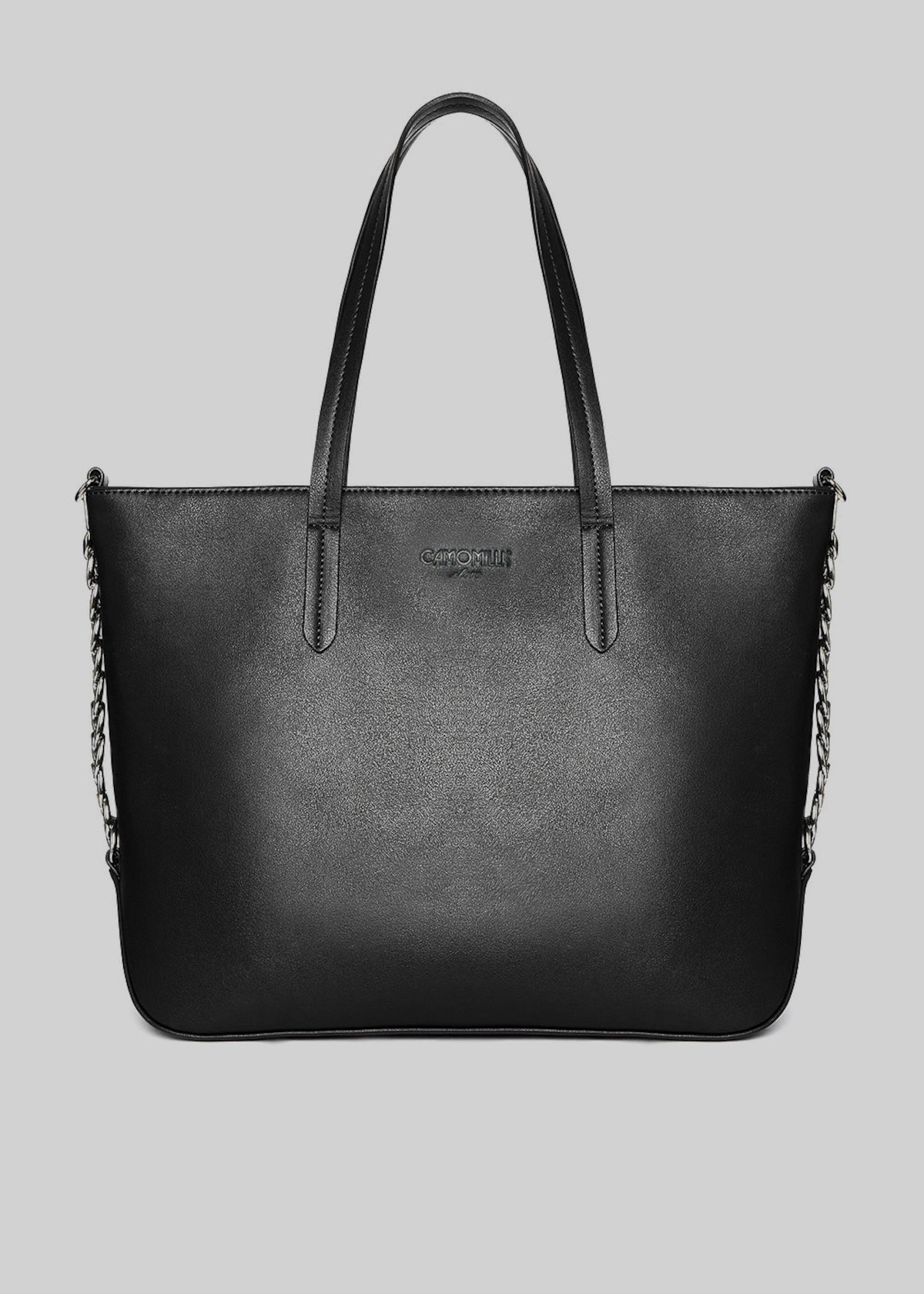 Faux-leather Blumy tote bag with chain detail - Black